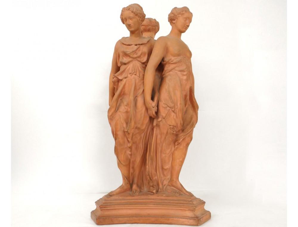 Terracotta Sculpture Three Graces Louvre Henry Ii Monument