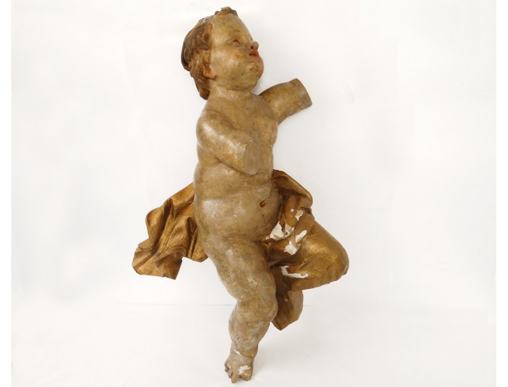 Beautiful Golden Polychrome Wood Statue Sculpture Angel
