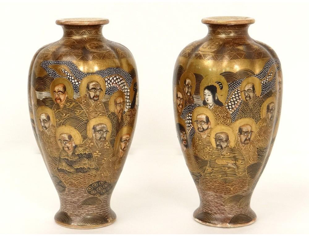 Paire Vases Porcelaine Satsuma Japon Personnages Dragons Dorure Xix 232 Me Si 232 Cle