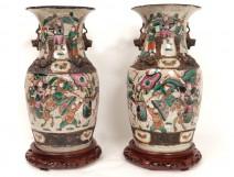 Pair of Chinese porcelain vases Nanjing Asian characters horses twentieth dragons