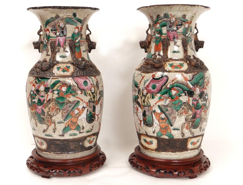 Paire Vases Chinois Porcelaine Nankin Personnages
