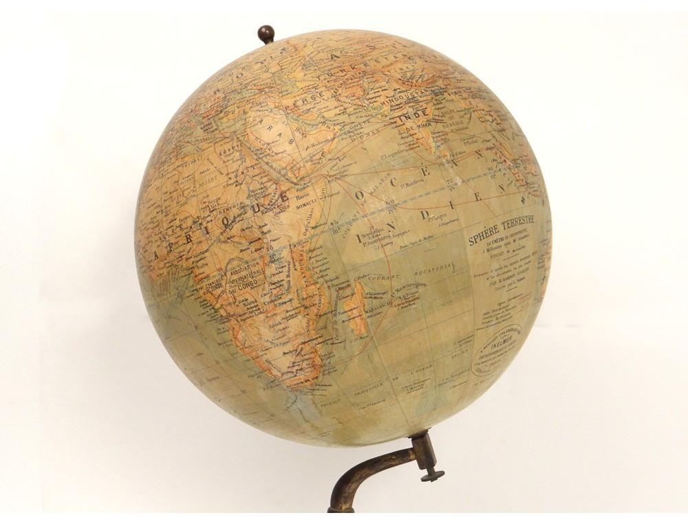 large world map globe barbot geographer editor ikelmer paris 19th antiques de laval. Black Bedroom Furniture Sets. Home Design Ideas