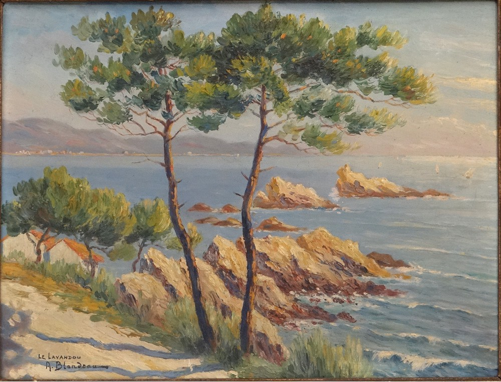 HSC table Blondeau landscape Lavandou France Mediterranean Riviera South 19th - Antiques de Laval