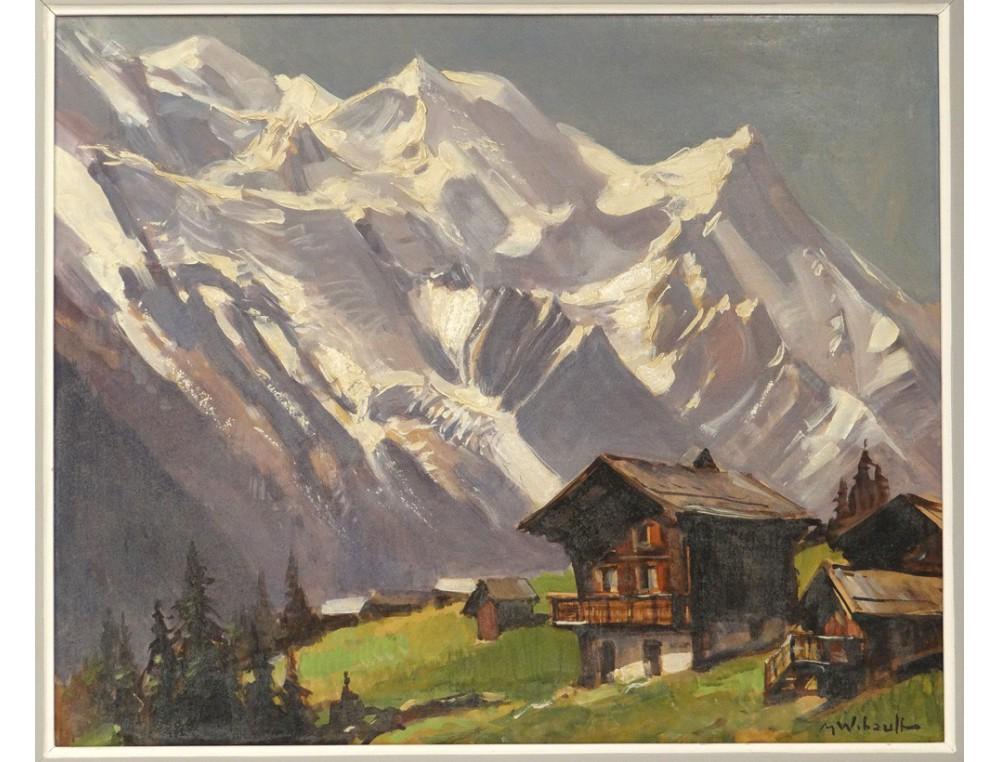 Hsp peinture paysage montagne enneig e m wibault village for Paysage