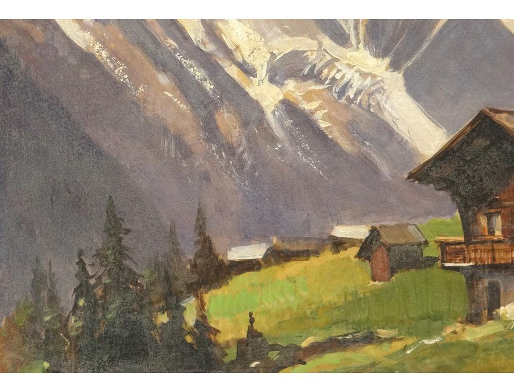 Hsp peinture paysage montagne enneig e m wibault village for Paysage peinture