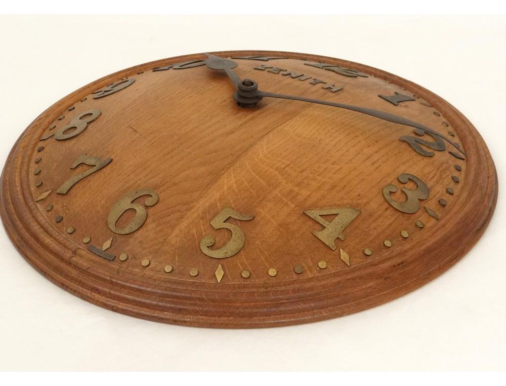 Pendule murale ronde bois zenith suisse 18 jours antique for Miroir antique en bois