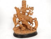 Sculpture terre cuite scène chasse cerf attaqué chiens terracotta XIXème