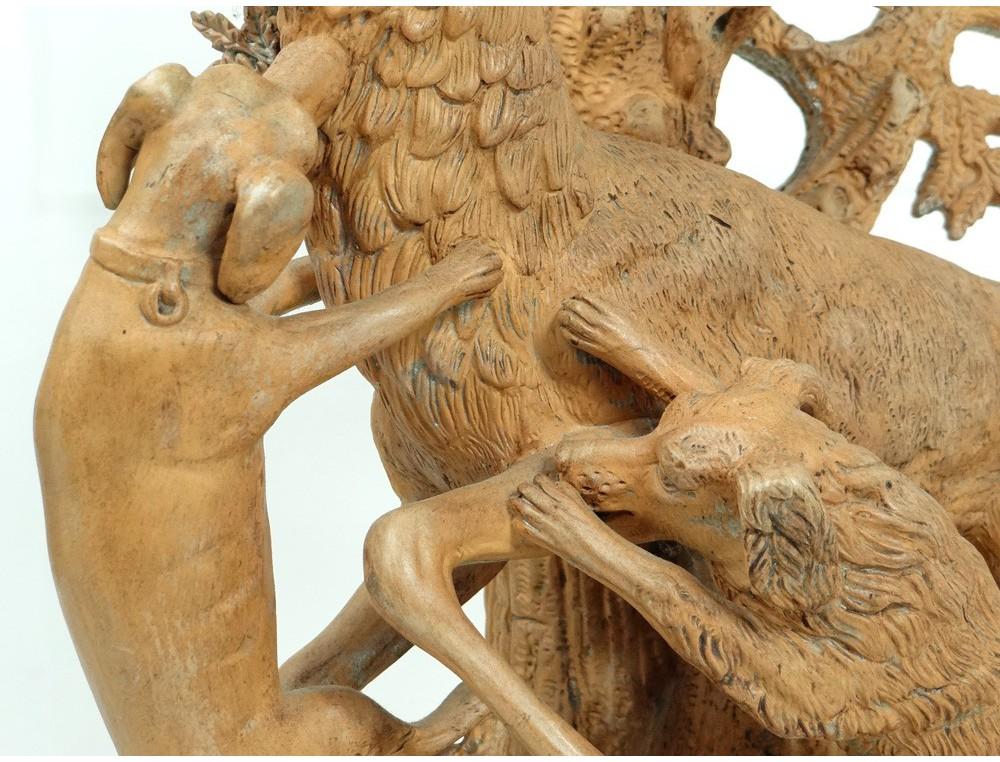 Sculpture Terre Cuite Sc 232 Ne Chasse Cerf Attaqu 233 Chiens