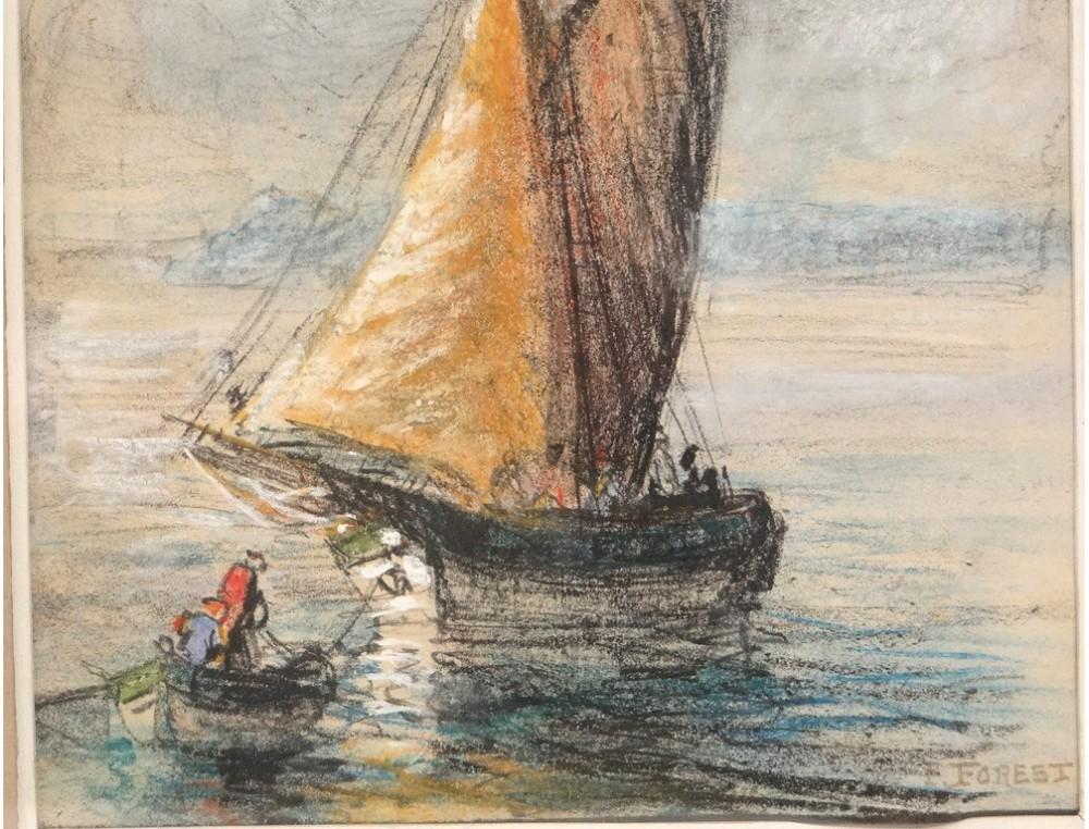 Pastel tableau marine bateau personnages barque sud france for Tableau geometrique pastel