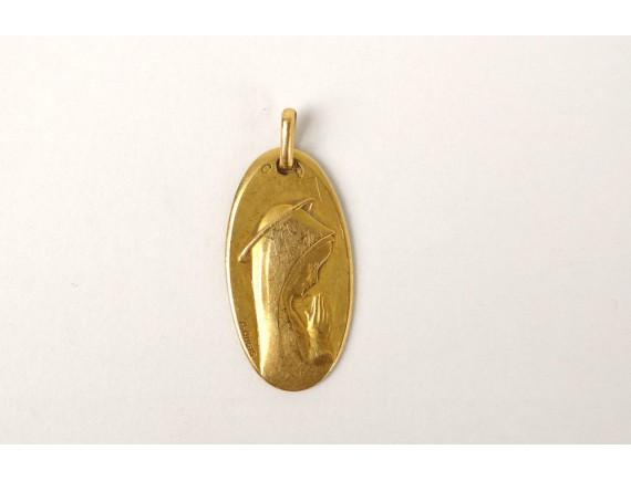 79ecb1bf4 Médaille de baptême en or massif 18 carats Vierge Marie prière Augis ...