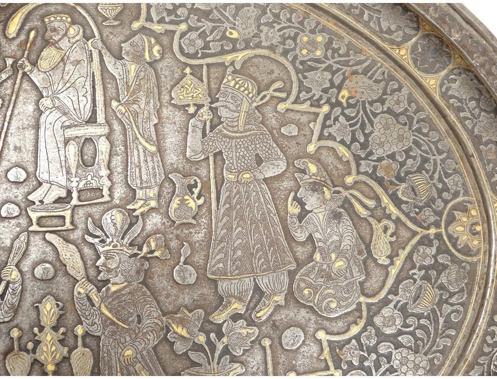 Rare Persian Flat Iron Metal Inlaid Gold King Oriental