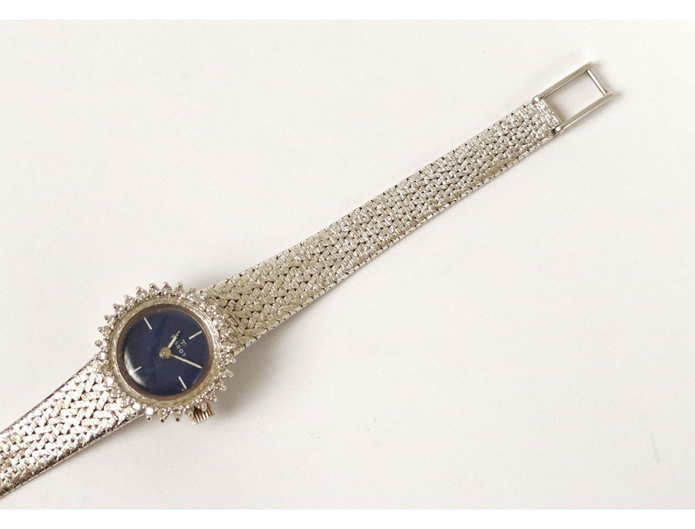 Montre bracelet Tissot or blanc 18 carats petits diamants suisse watch  ~ Montre Bracelet Bois