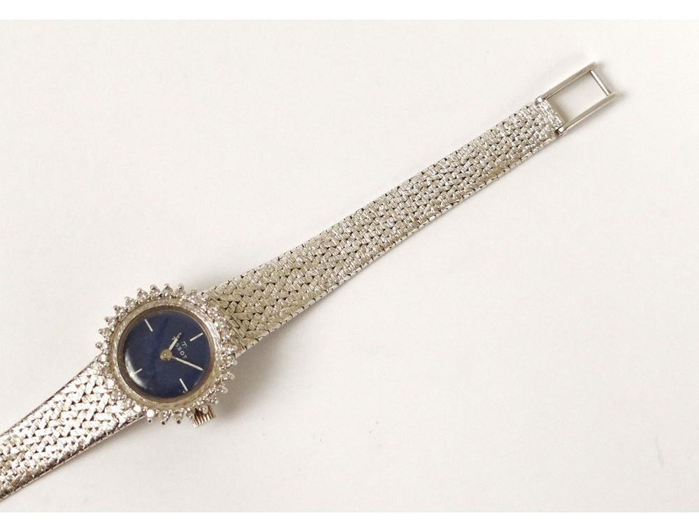 Montre bracelet Tissot or blanc 18 carats petits diamants suisse watch  ~ Montre Bracelet Bois