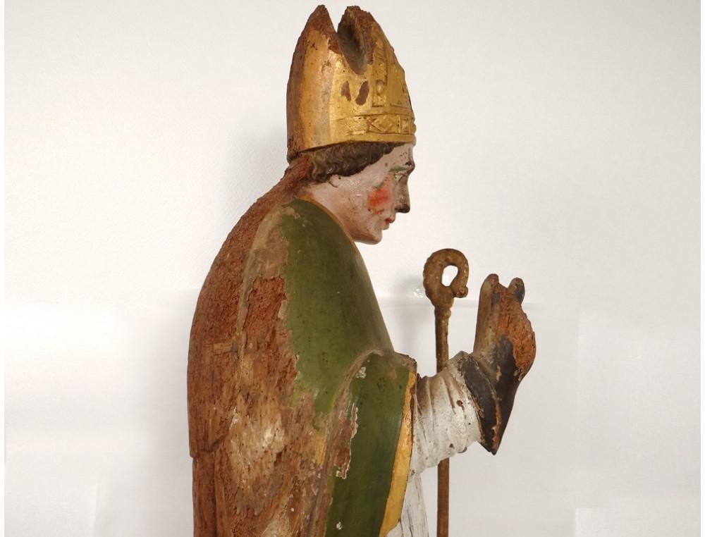 Rare Polychrome Carved Wood Statue Saint Nicolas Bishop