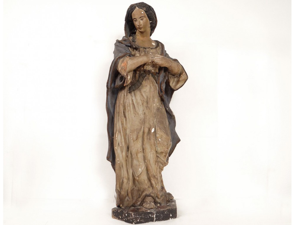 Beautiful Statue Carved Wooden Polychrome Virgin Mary