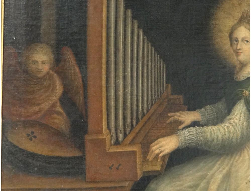 Rare Hst Portrait Painting St Cecilia Music Organ Cherub