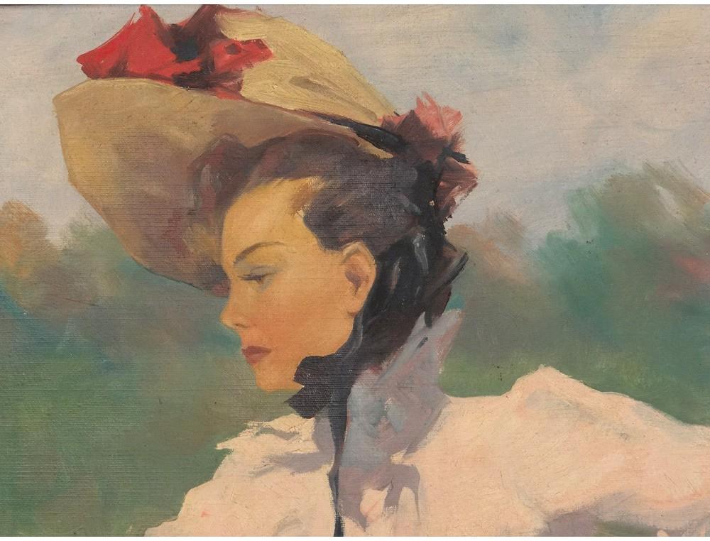 hst tableau portrait femme l gante jumelles champ courses art nouveau xix. Black Bedroom Furniture Sets. Home Design Ideas