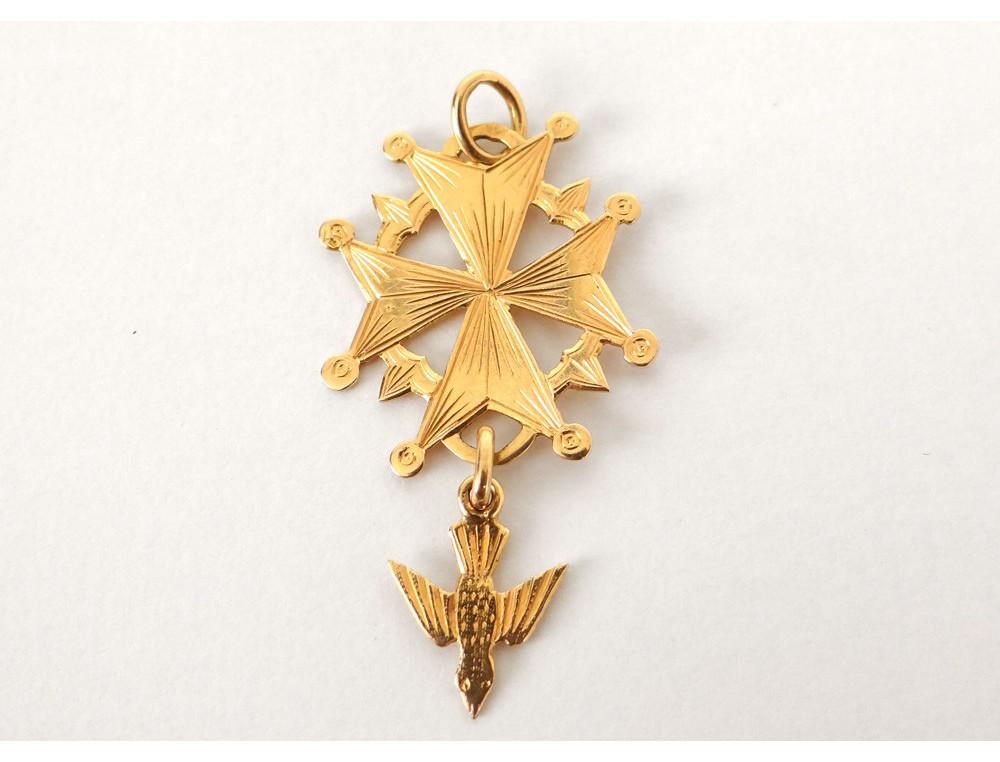 Croix huguenote pendentif or massif 18 carats colombe SaintEsprit  ~ Croix Huguenote En Bois