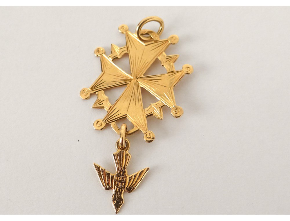 Croix Huguenote Pendentif Or Massif 18 Carats Colombe