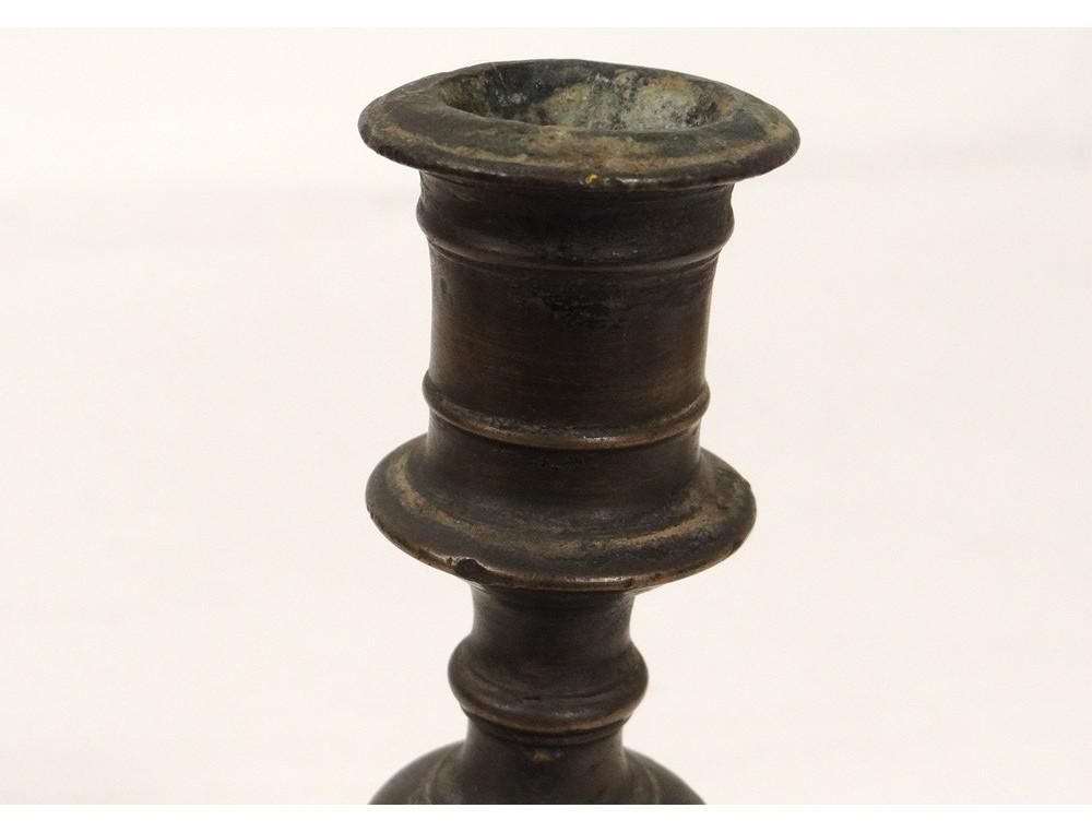 Bougeoir Flambeau Bronze Haute Epoque Antique Candlestick