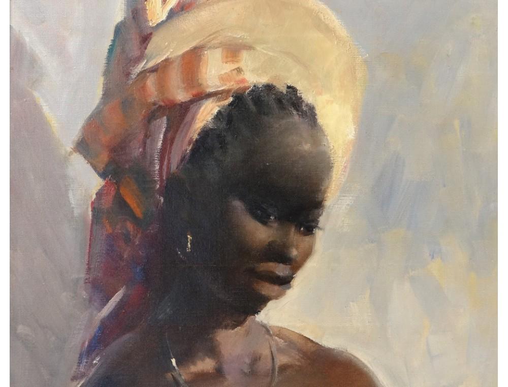 Bien-aimé HST tableau G.Parison portrait femme africaine enfant maternité  ZN18