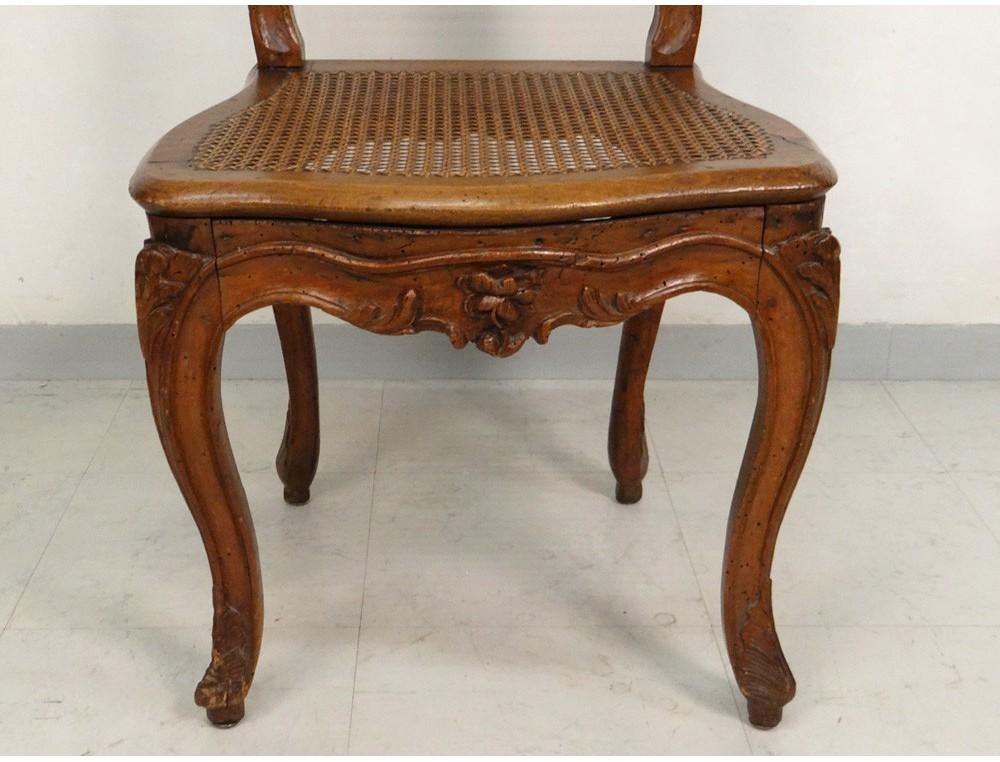 Chaise louis xv cann e noyer sculpt fleurs antique french for Chaise vintage bois