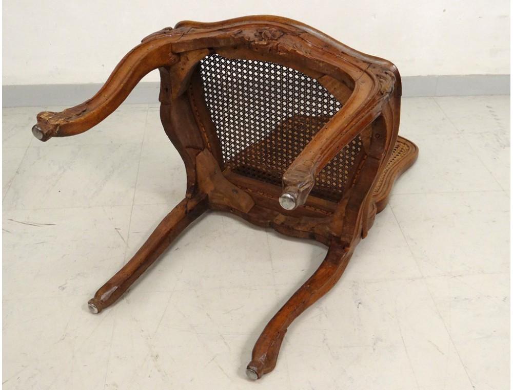 chaise louis xv cann e noyer sculpt fleurs antique french. Black Bedroom Furniture Sets. Home Design Ideas