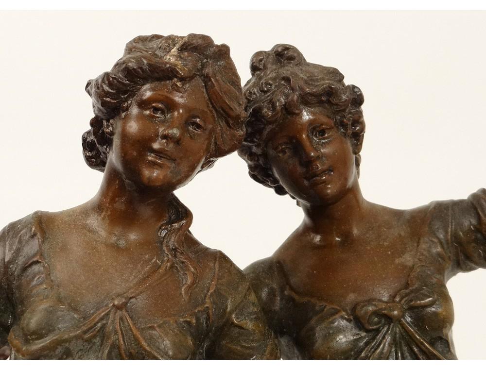 Sculpture Statue Deux Femmes Fleurs Orage Fran 231 Ois Moreau