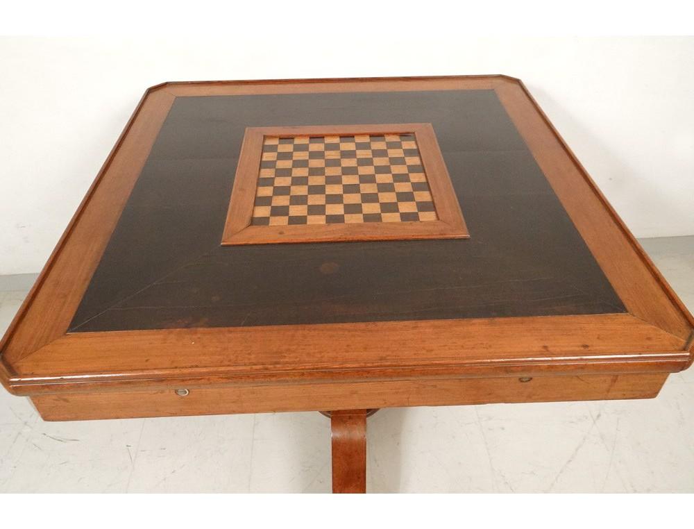 Table à jeu billard français bois noirci pichepin damier comptepoint XIXè