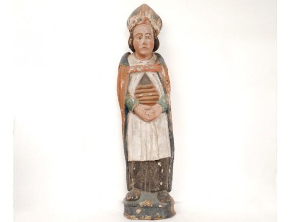 Statue Sculpture Bois Polychrome Saint 233 V 234 Que Mitre