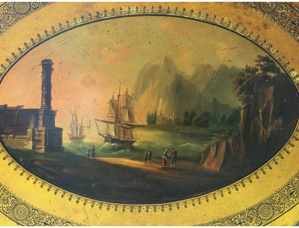 Large Tray Painted Metal Boats Italy Mountains Romantic Nineteenth Landscape Antiques De Laval