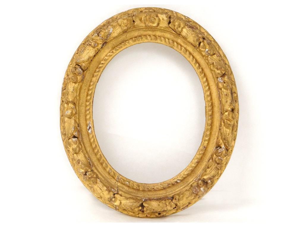 Cadre ovale bois sculpté doré fleurs antique french frame