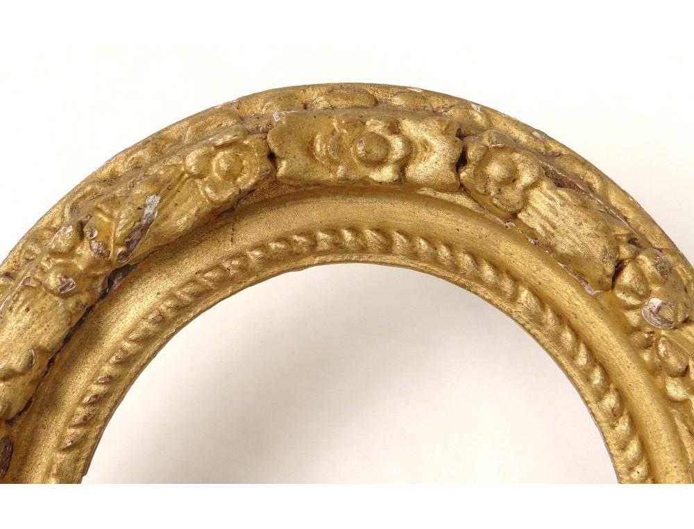 Cadre ovale bois sculpté doré fleurs antique french frame ...