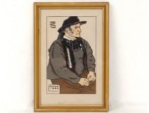 Pochoir gouache homme Gouézec Finistère Bretagne costume Géo-Fourrier XXème