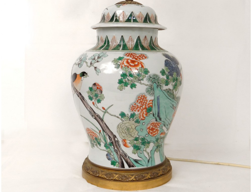 Chinese Porcelain Covered Jar Lamp Green Bronze Bird