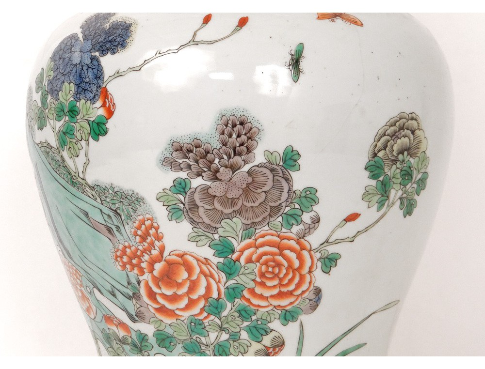 chinese porcelain covered jar lamp green bronze bird. Black Bedroom Furniture Sets. Home Design Ideas