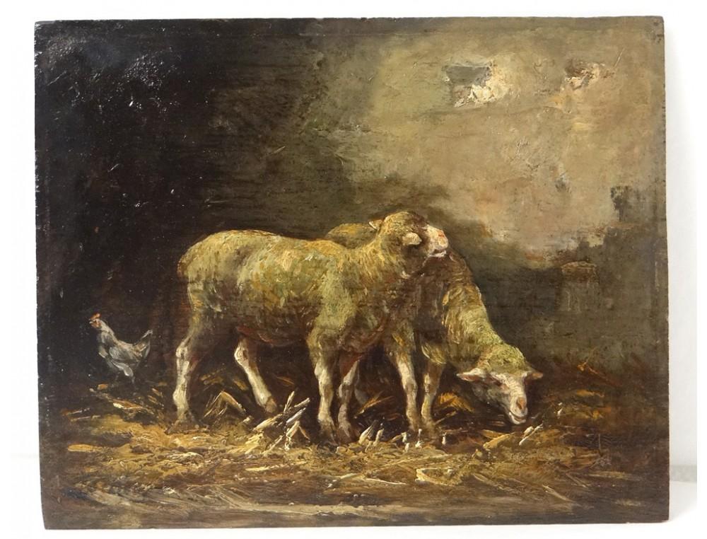Superb Pair Hsp Barbizon School Paintings Sheep Barn Hen