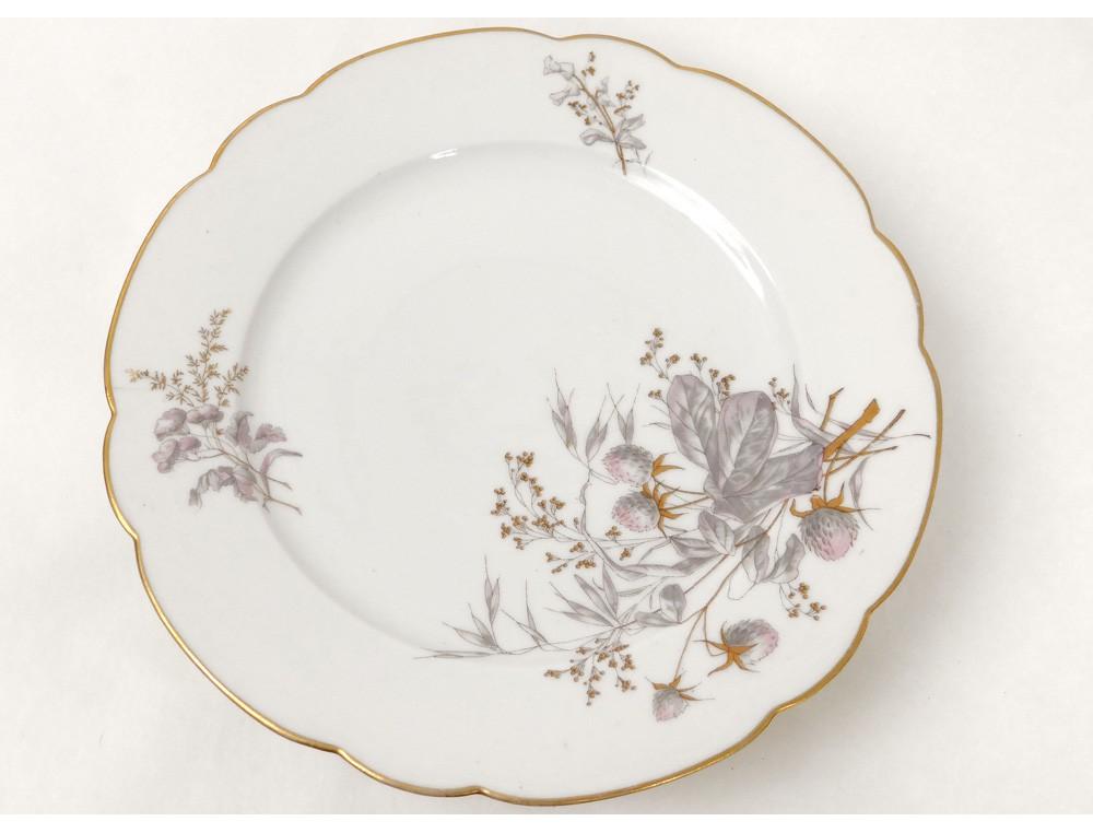 Compotier Porcelaine Vierzon Fleurs Chardons Hache P 233 Pin