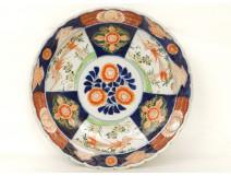 Grand plat porcelaine imari Japon oiseaux phoenix fleurs signé cachet XIXè