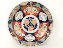 Grand plat porcelaine imari Japon oiseaux phoenix poissons signé cachet 19è
