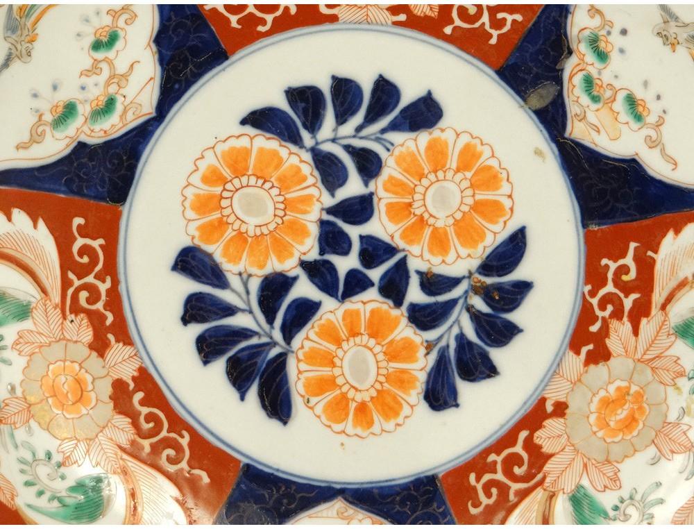 Grand Plat Porcelaine Imari Japon Oiseaux Phoenix Poissons