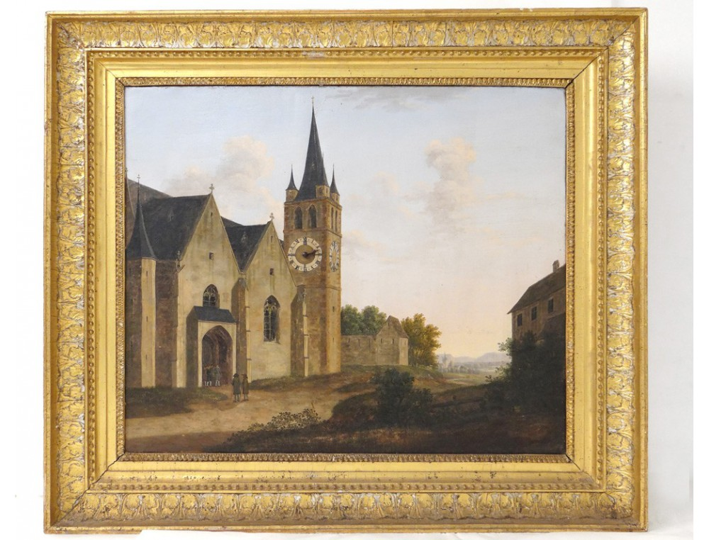 Rare Tableau Horloge Hst 233 Glise Clocher Village
