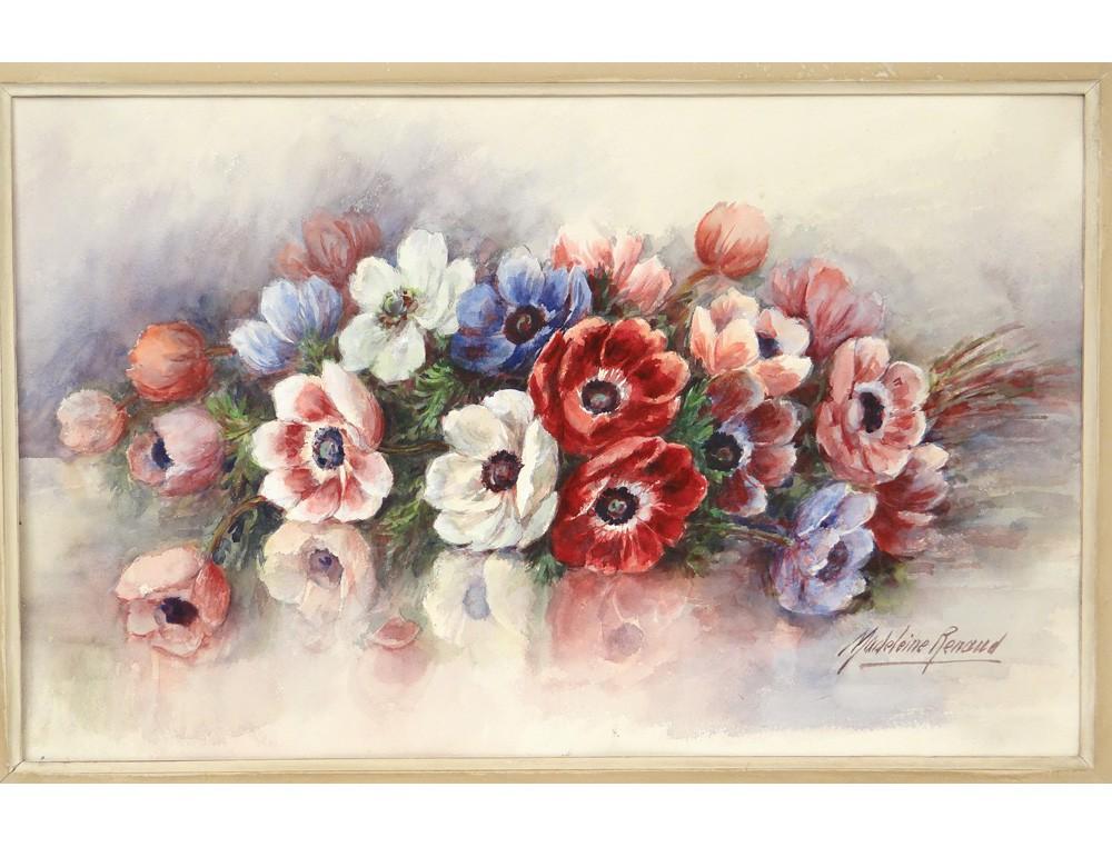 Grande Aquarelle Bouquet Fleurs Pens 233 Es Madeleine Renaud
