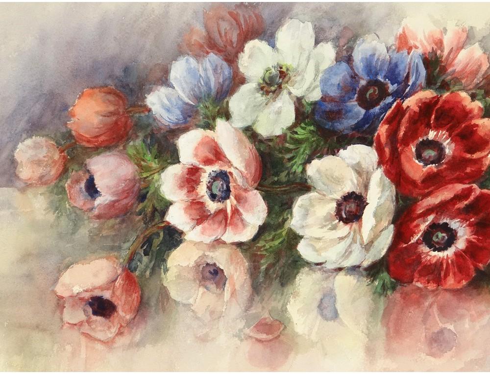 grande aquarelle bouquet fleurs pens es madeleine renaud watercolor xx me. Black Bedroom Furniture Sets. Home Design Ideas