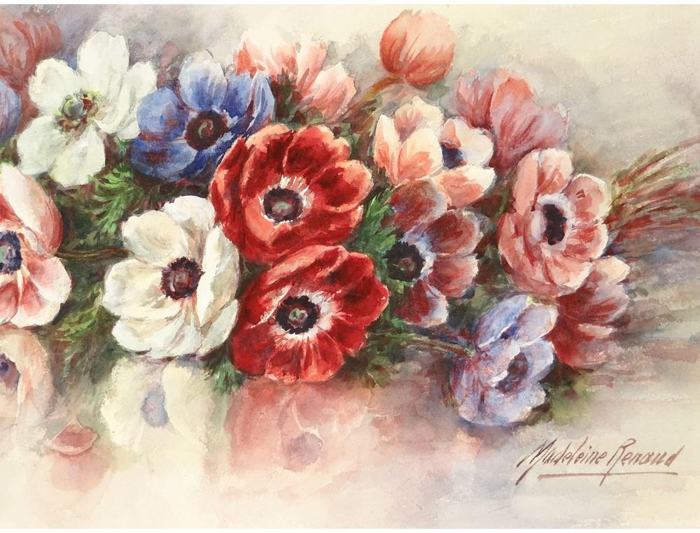 Grande aquarelle bouquet fleurs pens es madeleine renaud for Bouquet de fleurs 974