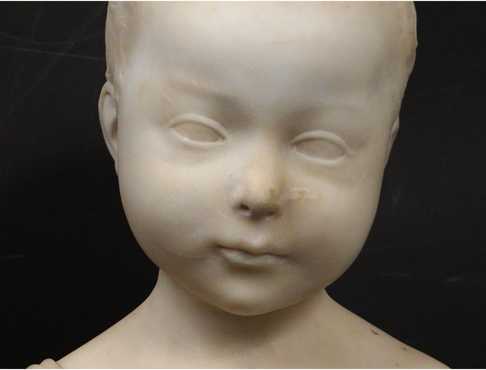 Superbe Sculpture Buste Marbre Carrare Enfant Jeune Gar 231 On