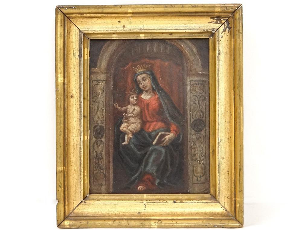 Huile Sur Cuivre Tableau Portrait Vierge 224 L Enfant J 233 Sus