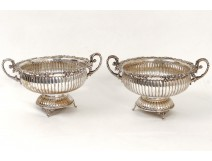 Pair of silver cups grape vine cluster sterling silver nineteenth century