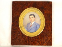 Painted miniature of a man by Theresa Gaudrion elegant, 20th