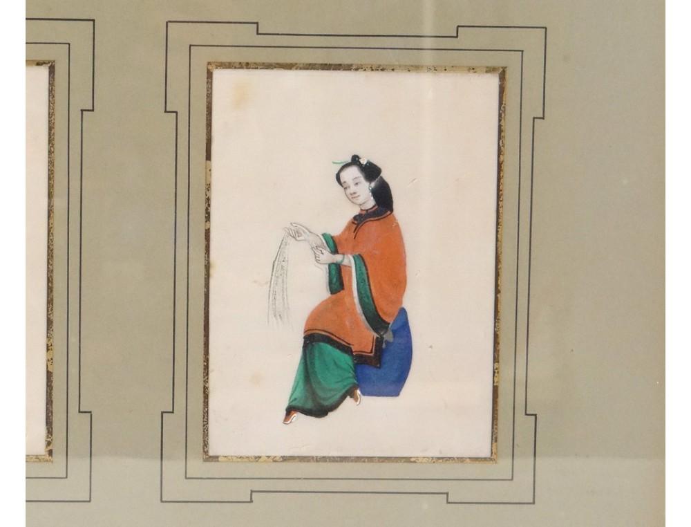 Tableau Chinois Papier De Riz Personnages Femmes Mandarin